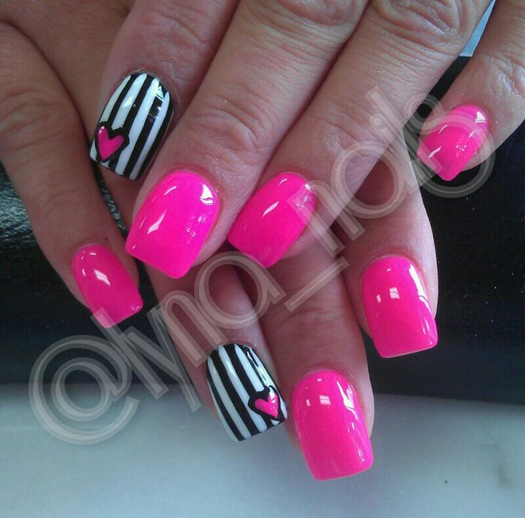 Black & White Stripes (or chevron) with NEON pink - For Valentines