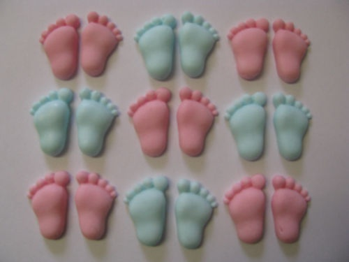 24 pairs edible baby feet topper cake cupcake decorations for Baby feet decoration