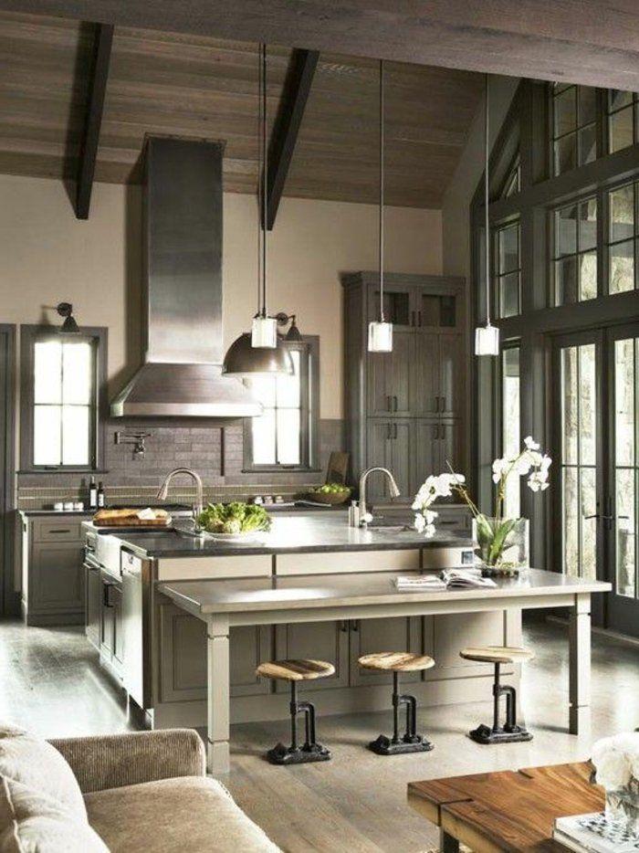 cuisine moderne de couleur gris, quelle couleur pour une cuisine