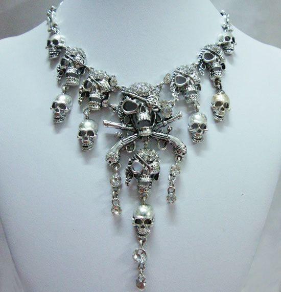 Classic Silver Halloween Skull Pirate theme Silver Necklace. Fine or Fashion…