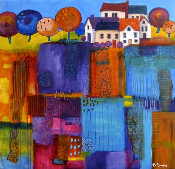 village fields by Ro Bruhn - acrylic paint and collaged papers on canvas http://www.flickr.com/photos/36401839@N00/sets/72157626138011075/ http://robruhn.blogspot.com/ #art #mixed_media