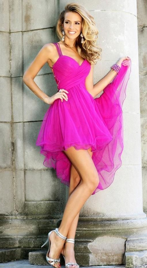 Short Fuschia Homecoming Dresses Tulle Graduation Gowns Plus Size Mini Backless Party Dress High Low Dressed 8th Grade