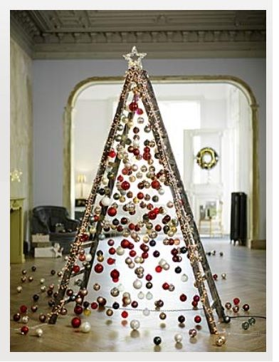 use an old ladder as an christmas tree!
