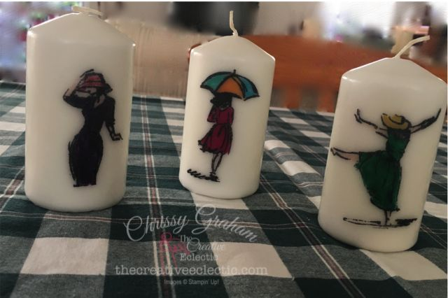 Don't you just love this Workshop Wow candles stamped with the Beautiful You stamp set? Find out what else I shared at Chris's party at www.thecreativeeclectic.com #stampinup #creativeLife #beautifulyou #rubberstamping