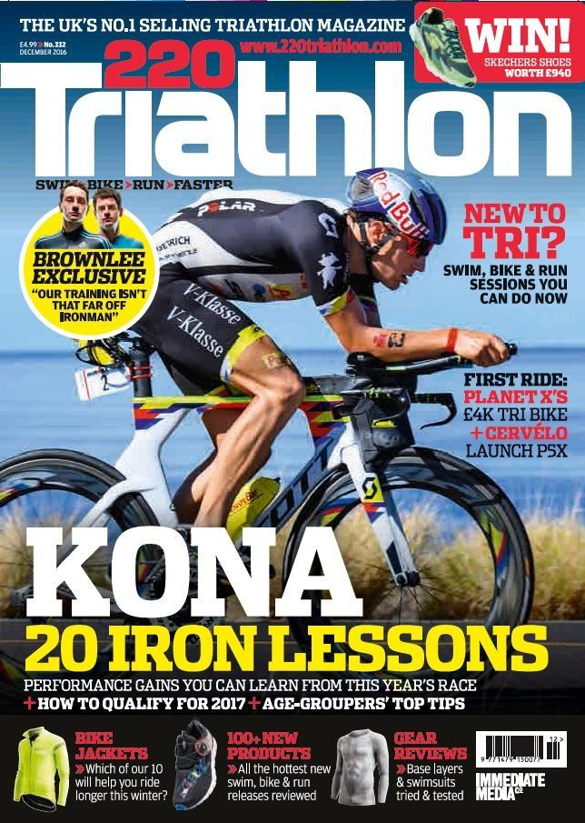 """In this Issue:    FREE overseas training & race guide    Kona - 20 Iron lessons    Performance gains you can learn from this year's race + how to qualify for 2017 + Age-groupers' top tips    WIN! Skechers shoes worth £940    New to TRI? Swim, bike & run sessions you can do now    Brownlee exclusive """"Our training isn't that far off Ironman""""    First ride: PLanet X's £4k Tri bike    Bike jackets - Which of our 10 will help you ride longer this winter?    100+ new products - All the hottest"""