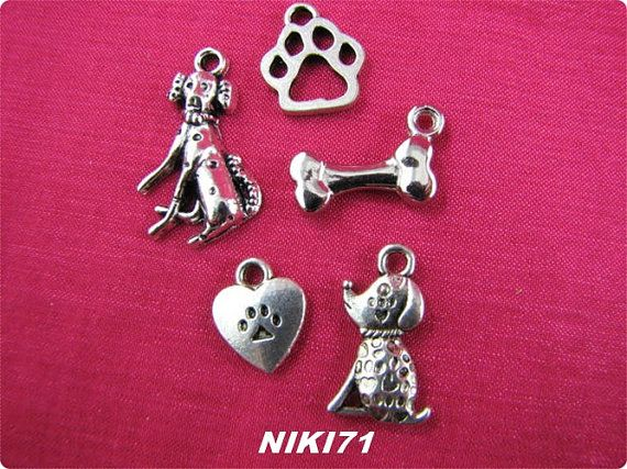 Dog Themed Charms in tibetan Silver  2184 2121 2122 by NIKI71, $5.00