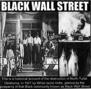 The Tulsa Riot of 1921 This is the worst riot in american history. 15,000 Blacks were left homeless, between 300 and 3000 were killed, wounded and/or missing, 1500 homes were burned to the ground and over 600 Black owned businesses in a 35 square block area were bombed in the all Black Greenwood District of Tulsa, Oklahoma. It was the first american city to be bombed by airplanes. More peope died this day than in any single event since the civil war.