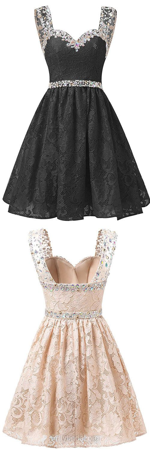 Newest Black Prom Dresses,Short/Mini Homecoming Dresses,A-line Sweetheart Party Gowns,Lace Tulle Beading Formal Evening Dress