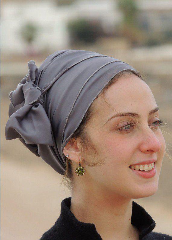 Gray Satin Turban Head Covering