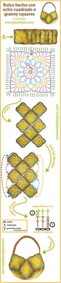 Paso a paso: cómo tejer un bolso con 8 cuadrados o granny squares tejidos a #crochet!