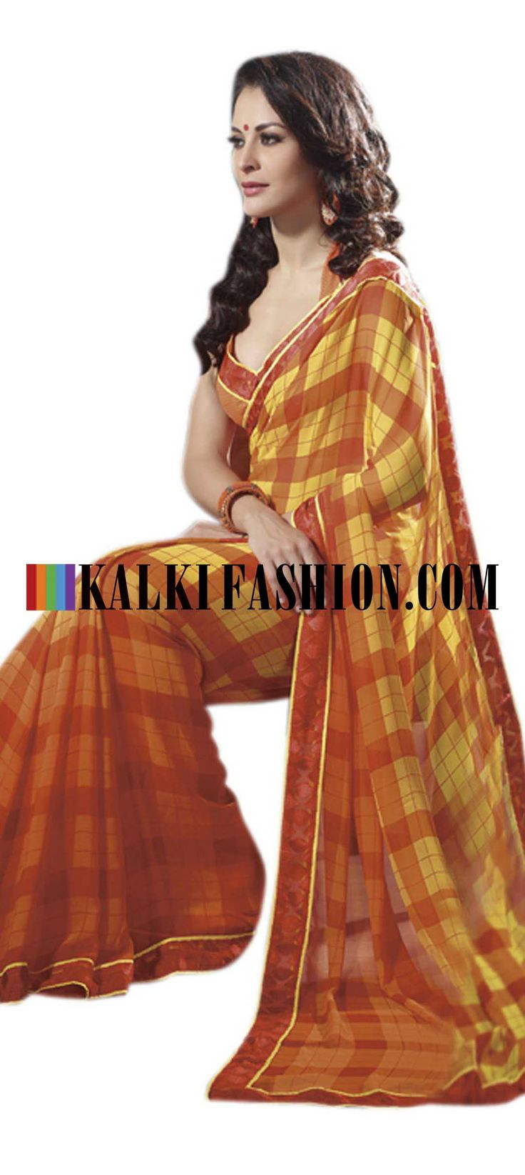 Buy Online from the link below. We ship worldwide (Free Shipping over US$100) http://www.kalkifashion.com/orange-saree-with-checks-print.html Orange saree with checks print