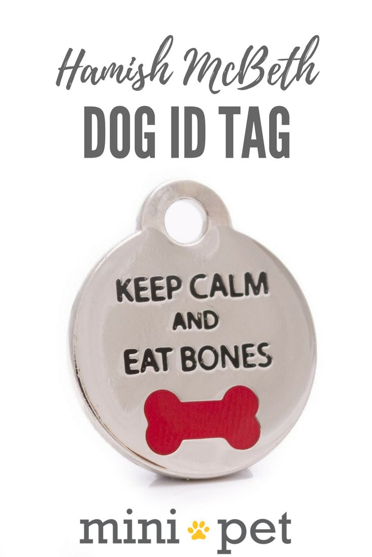 """Keep Calm and Eat Bones"" pet id tag is the perfect mantra for any laid back dog with its painted red bone. The laser engraving is clear, permanent and with its thick protective coating, this pet id tag is made to last. A split ring is included.  To help your dog stay safe, make sure they always wear a good quality collar, engraved dog pet ID tag, and a microchip. If you move house, don't forget to update your pet's details too!"