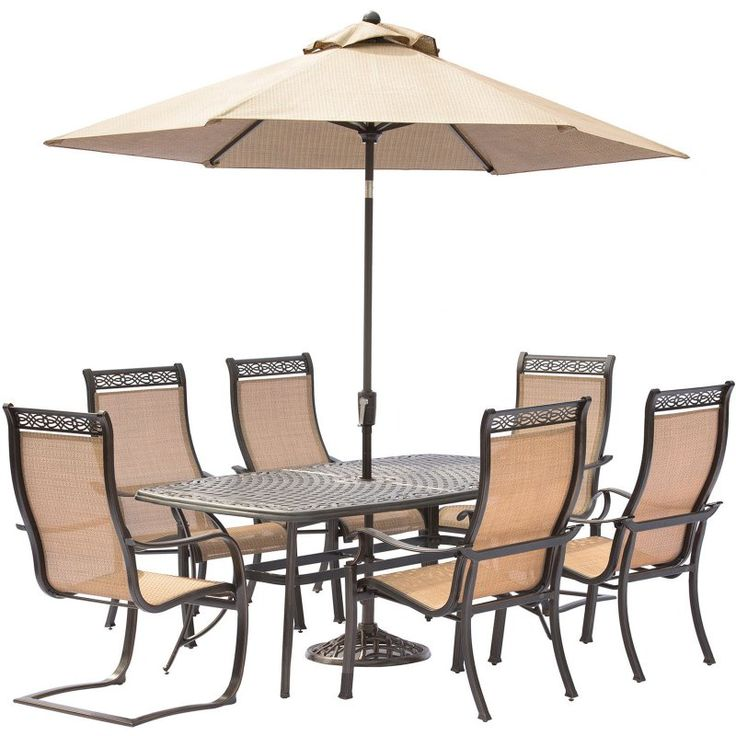 Hanover Manor Aluminum 7 Piece Rectangular Patio Dining Set With Umbrella  And Stand   MANDN7PCSP