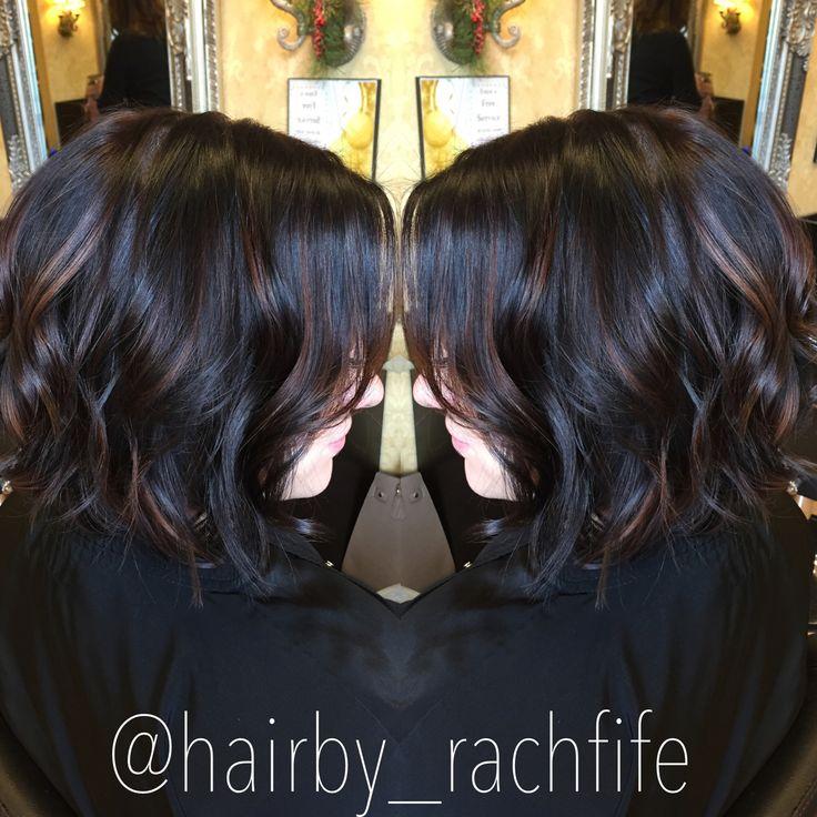 Dark chocolate brown with subtle caramel balayage highlights. Long bob beachy curls. Hair by Rachel Fife @ SF Salon