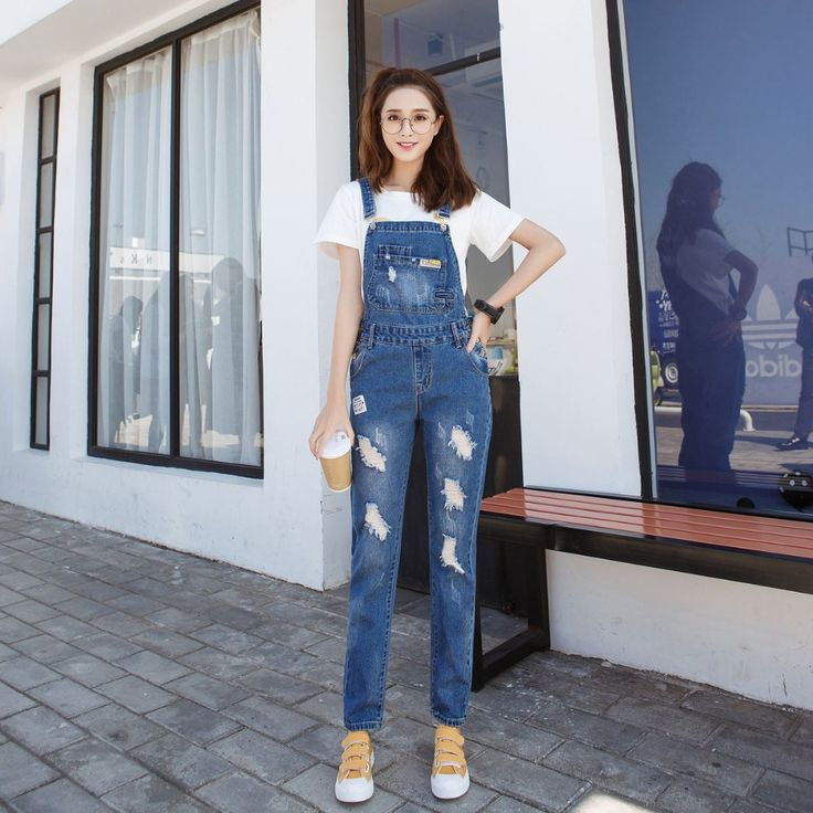 LUCKY STAR Spring Fashion Ripped Jeans Jumpsuits Ladies Girls long Pants Casual Women Rompers bib overalls Suspenders A128