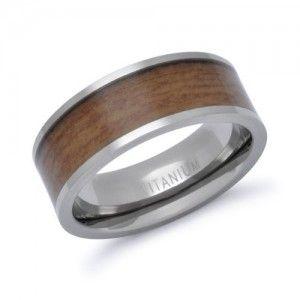 titanium ring with legit wood inlay.