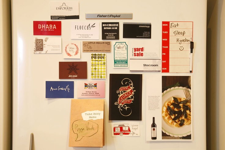 Our fridge acts as a notice board for all the local cafes and restaurants.