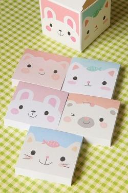 Kawaii Box Memo Set - 5 patterns