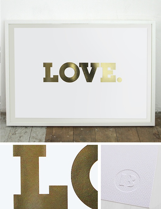 LOVE. Gold Foil Print (640 x 450mm)Decor, Wall Art, Lists Studios, Gold Foil Prints, Black Lists, Baby Girl Rooms, Front Doors, Blacklist Studios, Studios Prints