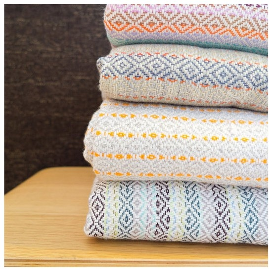 Colorful, woven blankets