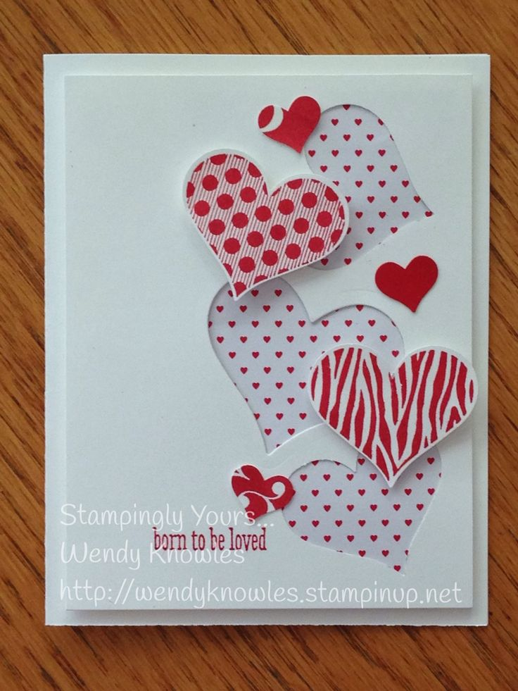 """This card was """"born to be loved""""!  Groovy Love, Sweetheart Punch, Mini Treat Bag Dies (middle), Itty Bitty Accents Punch Pack, Stacked with Love DSP pack."""