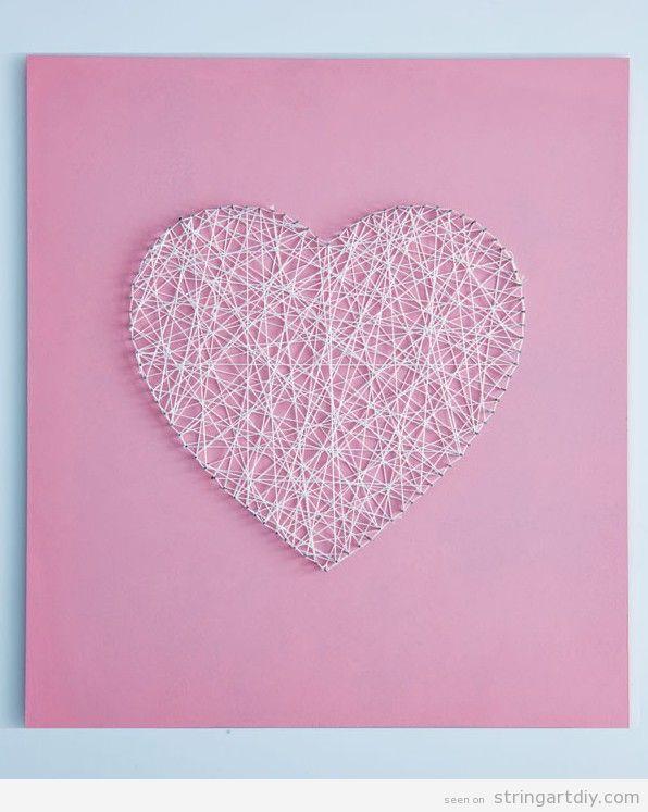 art coeur string cadeau fait la main pour la saint valentin string art pinterest art. Black Bedroom Furniture Sets. Home Design Ideas