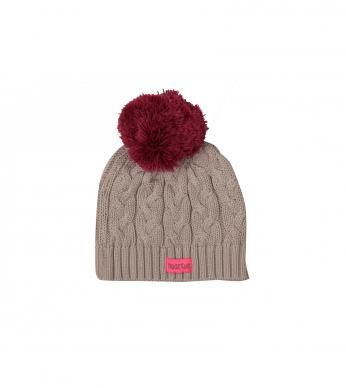 a knitted beanie with pom pom detail .  100% cotton exluding trims.