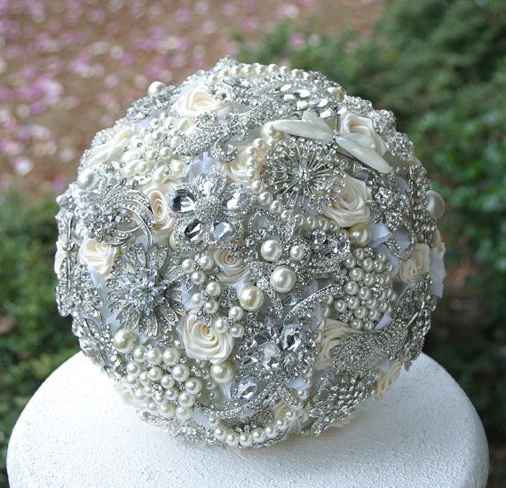 Crystal Wedding Brooch Bouquet. Deposit on made to by annasinclair, $75.00