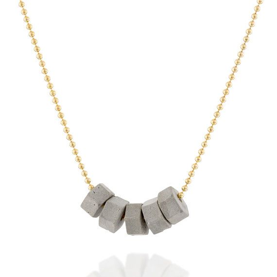 Delicate minimalist concrete hexagons necklace on a goldfield chain. By BAARA Jewelry. $55