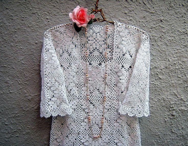 Maglia all'uncinetto per l'estate-Camicetta romantica boho chic-Moda primavera di pizzo bianco-Abbigliamento bohemian : Maglie, gilet di i-pizzi-di-anto