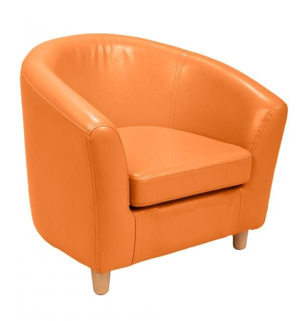 Bright Orange Kids Faux Leather Tub Chair by Shanker