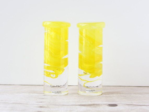 Kosta Boda Yellow Candle Holders / Bright Art by whateverislovely