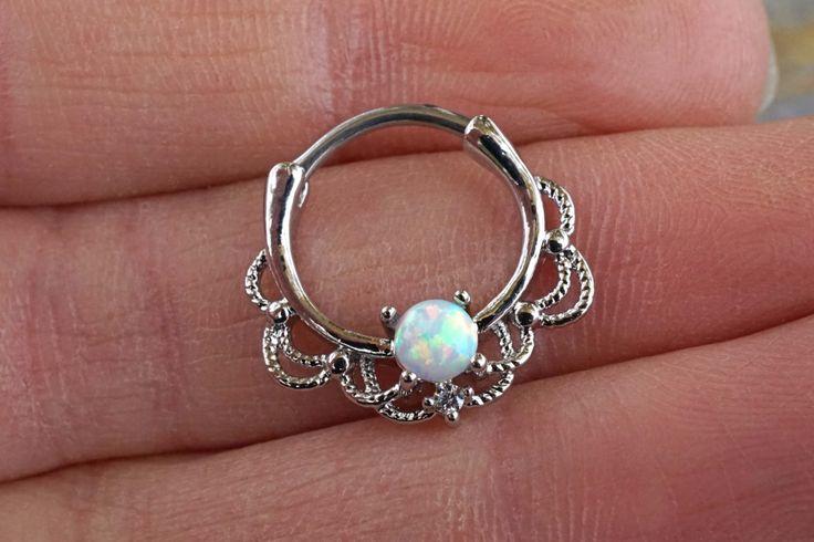 16 Gauge White Opal Daith Hoop Ring Daith Clicker Septum Hoop