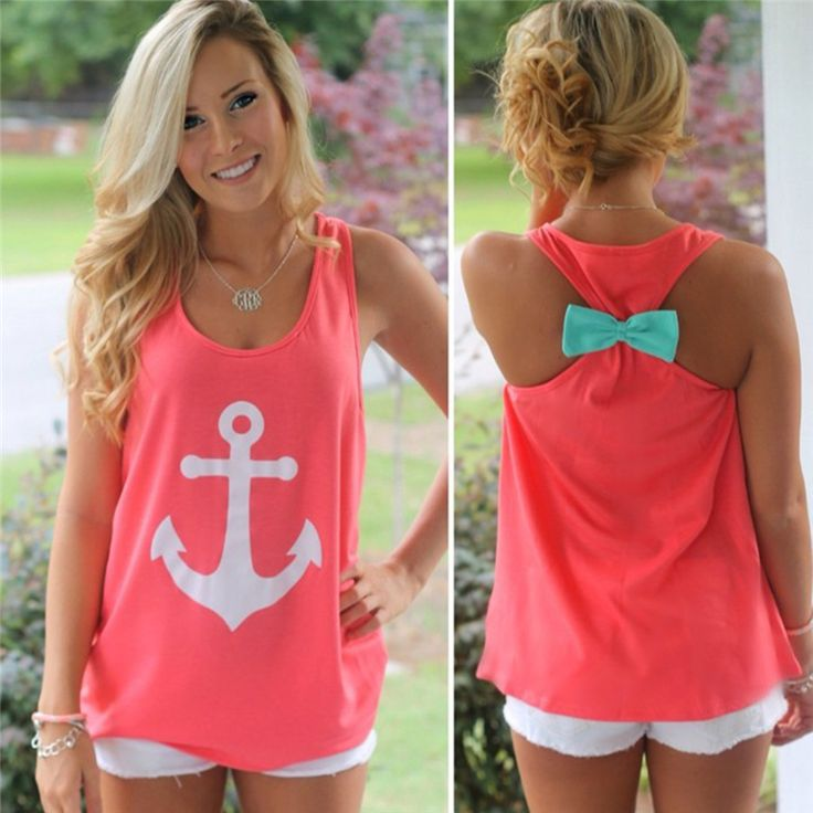 2017 Fashion Women Summer Anchor Vest Top Sleeveless Bow Casual T Shirt -in T-Shirts from Women's Clothing & Accessories on Aliexpress.com | Alibaba Group