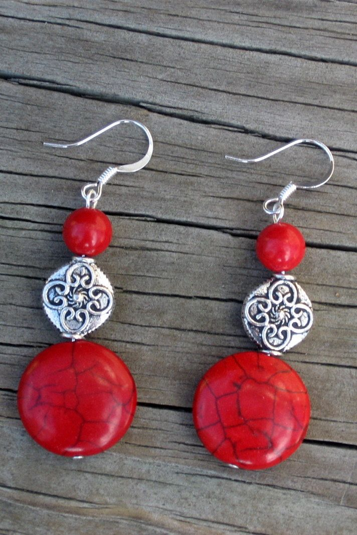 Red Howlite, Red Coral, and Silver Pewter Earrings
