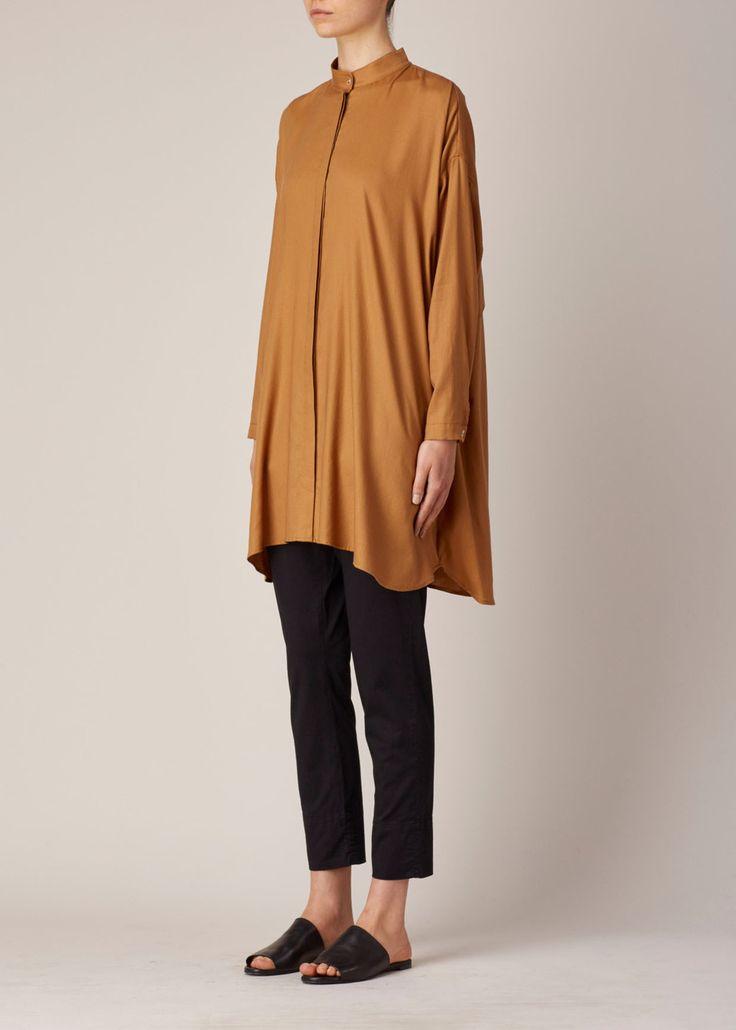 Suzanne Rae CAMEL MANDARIN COLLAR A-LINE SHIRT DRESS