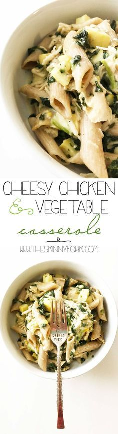 This Cheesy Chicken & Vegetable Casserole is basically an 'adult' mac-n-cheese, and one of my new favorites. Fully loaded with end-of-summer vegetables and plenty of cheesy goodness! Plus, it's a super easy weeknight meal that you can toss together in no time at all. TheSkinnyFork.com | Skinny & Healthy Recipes