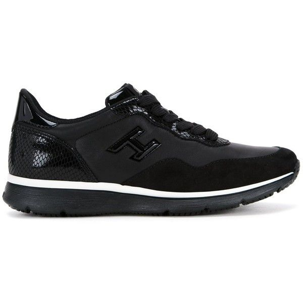 Hogan 'Interactive' sneakers (1,800 SAR) ❤ liked on Polyvore featuring shoes, sneakers, black, black leather shoes, black shoes, leather trainers, leather shoes and genuine leather shoes