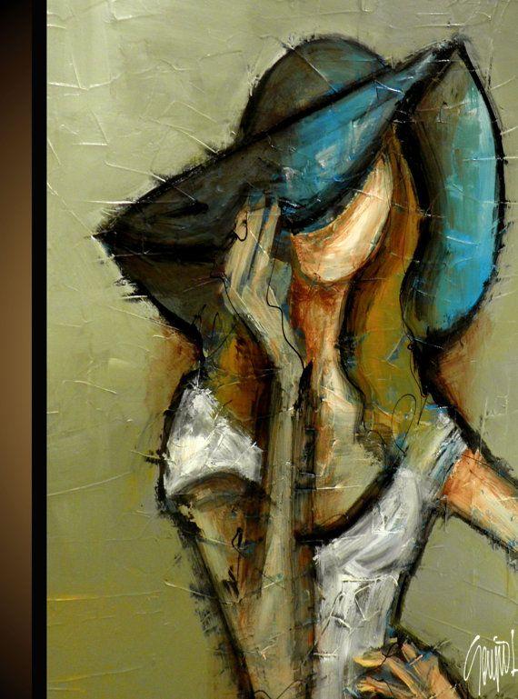 Pintura original arte abstracto moderno hecho a la por SlazoArt