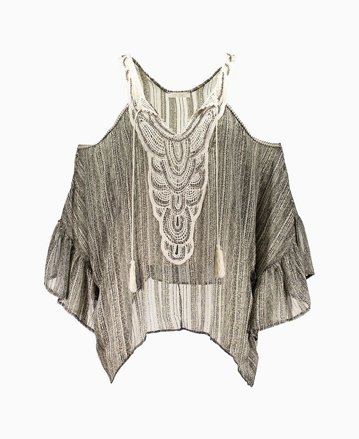 Just M - Ava Detail Bead Top - Grey - Tops - Womens