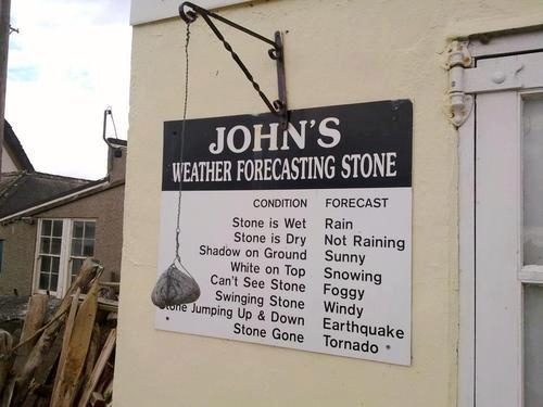 The best weather forecasting stone ever.John Weather, Weather Forecast, Laugh, Forecast Stones, Funny Stuff, Humor, Weatherforecast, Funnystuff, Weather Stones
