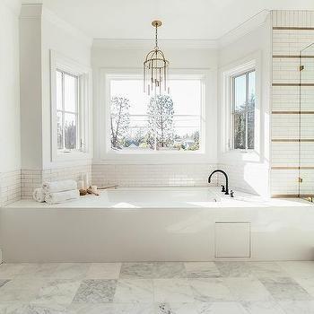 Brass And Glass Lantern Over Bay Window Enclosed Bathtub