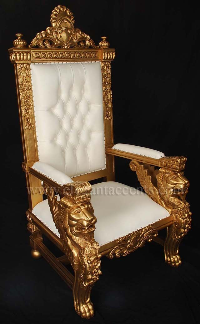 Winged Lion Throne Chair   Gold Paint With White Leatherette
