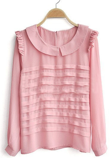 Pink Frill Long Sleeve Tiered Pleated Chiffon Blouse