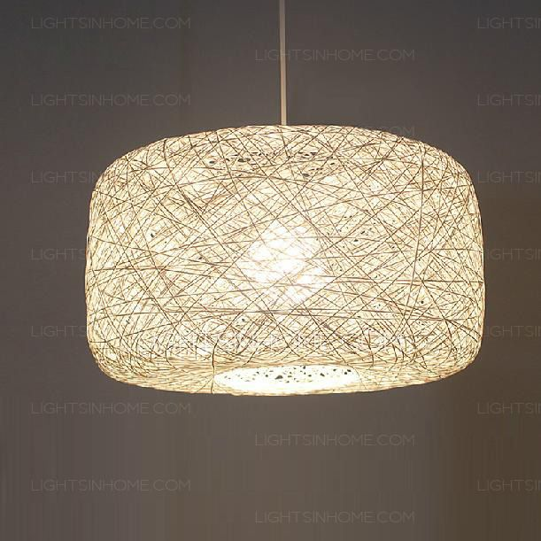 Asian Pendant Lights White 15.7 Inch Diameter Rope Shade  $101  Wattage Per Bulb30-39W