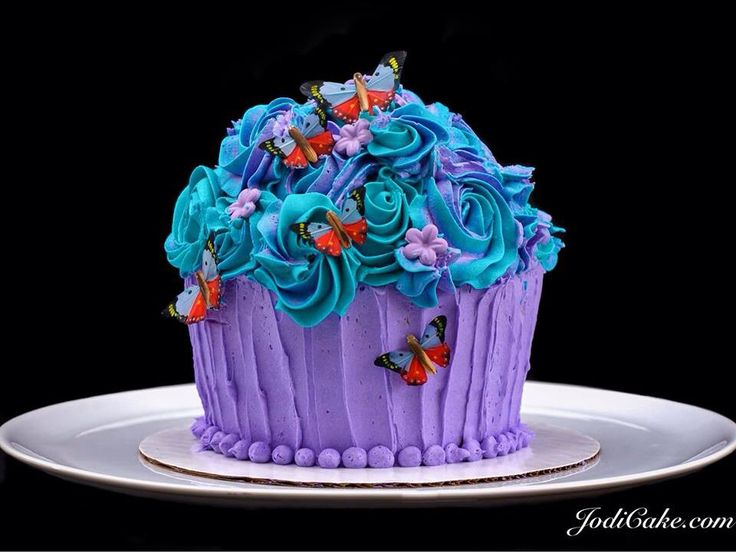Butterflies and Rosettes Giant Cupcake