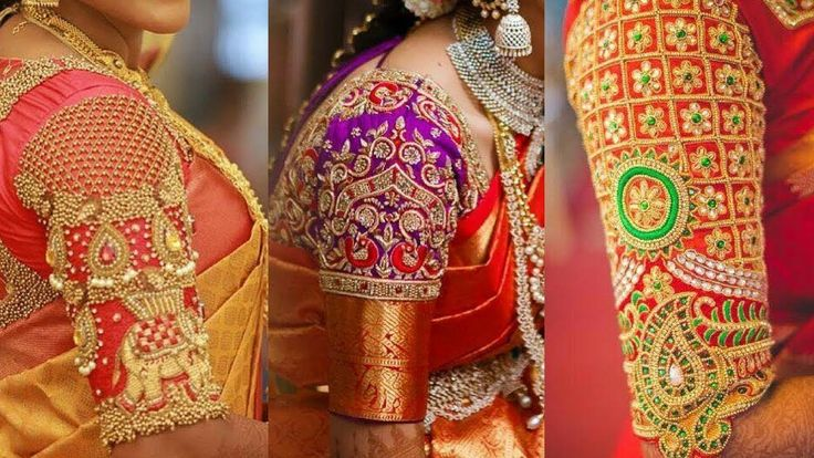 Latest Pattu Saree Blouse Designs | Designer Saree Blouses | Long Elbow ...