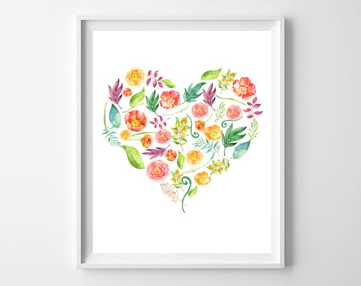 This pretty floral heart free printable would be sweet in a little girl's room.