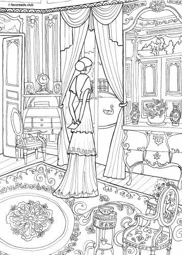 Victorian Interior printable adult coloring page History Social Studies Culture