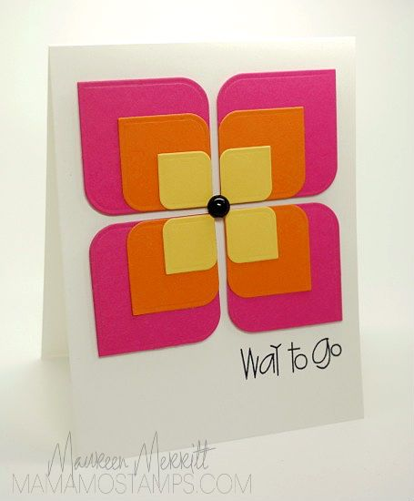 Squares rounded at 2 corners; then embossed and put together to form a flower!  Mama Mo Stamps